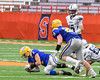 Cazenovia Lakers Anthony Vecchiarelli (3) recovers a Homer Trojans fumble in Section III Class B Football Championship action at Carrier Dome in Syracuse, New York on Sunday, November 6, 2016.