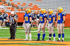 Cazenovia Lakers captains Austin Enders (28), Connor Westfall (75), Cody Thorp (17) and 66 on the field before playing the Homer Trojans in the Section III Class B Football Championship game at Carrier Dome in Syracuse, New York on Sunday, November 6, 2016.