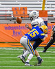 Cazenovia Lakers Will Khalil (15) knocks the ball away from Homer Trojans Domonick Natale (28) in Section III Class B Football Championship action at Carrier Dome in Syracuse, New York on Sunday, November 6, 2016.