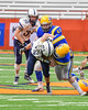 Homer Trojans John Horner III (22) is tackled by a Cazenovia Lakers defender in Section III Class B Football Championship action at Carrier Dome in Syracuse, New York on Sunday, November 6, 2016. Cazenovia won 31-7.
