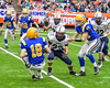 Cazenovia Lakers Joey Gates (18) recovers a fumble by Homer Trojans Matt Guerrera (23) in Section III Class B Football Championship action at Carrier Dome in Syracuse, New York on Sunday, November 6, 2016. Cazenovia won 31-7.
