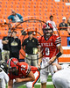 Baldwinsville Bees Ben Dwyer (9) looking over the Corning Hawks defense in the 2017 Kick Off Classic at the Carrier Dome in Syracuse, New York on Thursday, August 31, 2017.  Baldwinsville won 35-7.