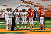 Baldwinsville Bees and Corning Hawks Captains at the coin toss before playing in the 2017 Kick Off Classic at the Carrier Dome in Syracuse, New York on Thursday, August 31, 2017.  Baldwinsville won 35-7.