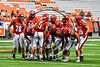 Baldwinsville Bees huddle up during the game against the Corning Hawks in the 2017 Kick Off Classic at the Carrier Dome in Syracuse, New York on Thursday, August 31, 2017.  Baldwinsville won 35-7.