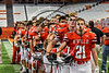 Baldwinsville Bees players standing for the National Anthem against the Corning Hawks in the 2017 Kick Off Classic at the Carrier Dome in Syracuse, New York on Thursday, August 31, 2017.  Baldwinsville won 35-7.