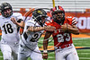 Baldwinsville Bees EJ Edmonds (23) running hard against the Corning Hawks in the 2017 Kick Off Classic at the Carrier Dome in Syracuse, New York on Thursday, August 31, 2017.  Baldwinsville won 35-7.