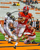 Baldwinsville Bees Ben Dwyer (9) scores a touchdown against the Corning Hawks in the 2017 Kick Off Classic at the Carrier Dome in Syracuse, New York on Thursday, August 31, 2017.  Baldwinsville won 35-7.