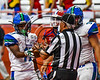 Cicero-North Syracuse Northstars Erik Pride (17) hands the ball to the referee after scoring a touchdown against the Fairport Red Raiders in the 2017 Kick Off Classic at the Carrier Dome in Syracuse, New York on Thursday, August 31, 2017. Cicero-North Syracuse won 45-14.