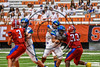 Cicero-North Syracuse Northstars Conner Hayes (4) passes the ball against the Fairport Red Raiders in the 2017 Kick Off Classic at the Carrier Dome in Syracuse, New York on Thursday, August 31, 2017. Cicero-North Syracuse won 45-14.