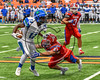 Cicero-North Syracuse Northstars Shy'rel Broadwater (13) fending off a Fairport Red Raiders defender in the 2017 Kick Off Classic at the Carrier Dome in Syracuse, New York on Thursday, August 31, 2017. Cicero-North Syracuse won 45-14.