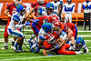 Cicero-North Syracuse Northstars Jaden Cockrell (76) tackles the Fairport Red Raiders runner in the 2017 Kick Off Classic at the Carrier Dome in Syracuse, New York on Thursday, August 31, 2017. Cicero-North Syracuse won 45-14.