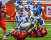 Cicero-North Syracuse Northstars Erik Pride (17) getting tackled by Fairport Red Raiders defenders in the 2017 Kick Off Classic at the Carrier Dome in Syracuse, New York on Thursday, August 31, 2017. Cicero-North Syracuse won 45-14.