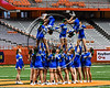 Cicero-North Syracuse Northstars cheerleaders performing during halftime of the 2017 Kick Off Classic at the Carrier Dome in Syracuse, New York on Thursday, August 31, 2017.