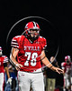 Baldwinsville Bees Cameron Majchrzak (78) playing against the Liverpool Warriors in Section III Football action at the Pelcher-Arcaro Stadium in Baldwinsville, New York on Friday, September 22, 2017.  Baldwinsville won 35-7.