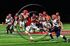 Baldwinsville Bees Gabe Horan (88) catches a pass against the Liverpool Warriors in Section III Football action at the Pelcher-Arcaro Stadium in Baldwinsville, New York on Friday, September 22, 2017.  Baldwinsville won 35-7.