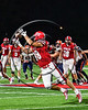 Baldwinsville Bees Gabe Horan (88) about to catch a pass against the Liverpool Warriors in Section III Football action at the Pelcher-Arcaro Stadium in Baldwinsville, New York on Friday, September 22, 2017.  Baldwinsville won 35-7.