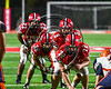 Baldwinsville Bees in a Power I with Center Jack Graham (72), Quarterback Ben Dwyer (9) and Runningbacks Victor Lamar (39) and EJ Edmonds (23) lined up against the Liverpool Warriors in Section III Football action at the Pelcher-Arcaro Stadium in Baldwinsville, New York on Friday, September 22, 2017.  Baldwinsville won 35-7.