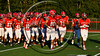 Baldwinsville Bees trot off the field after pre-game warm ups before playing the Liverpool Warriors in Section III Football action at the Pelcher-Arcaro Stadium in Baldwinsville, New York on Friday, September 22, 2017.