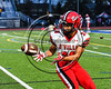 Baldwinsville Bees Victor Lamar (39) warming up before playing the Cicero-North Syracuse Northstars at the Michael Bragman Stadium in Cicero, New York on Friday, October 6, 2017.