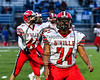 Baldwinsville Bees Donte Land (74) warming up before playing the Cicero-North Syracuse Northstars at the Michael Bragman Stadium in Cicero, New York on Friday, October 6, 2017.