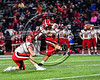 Baldwinsville Bees Garrett Selover (24) kicks a field goal against the Cicero-North Syracuse Northstars in Section III Football action at the Michael Bragman Stadium in Cicero, New York on Friday, October 6, 2017.