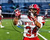 Baldwinsville Bees Michael Letizia (34) warming up before playing the Cicero-North Syracuse Northstars at the Michael Bragman Stadium in Cicero, New York on Friday, October 6, 2017.