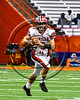 Baldwinsville Bees Ben Dwyer (9) looking to make a play against the Cicero-North Syracuse Northstars in Section III Class AA Football Championship game action at the Carrier Dome in Syracuse, New York on Saturday, November 4, 2017. Cicero-North Syracuse won 56-21.