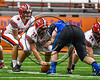 Baldwinsville Bees Jack Graham (72) ready to snap the ball to Ben Dwyer (9) against the Cicero-North Syracuse Northstars in Section III Class AA Football Championship game action at the Carrier Dome in Syracuse, New York on Saturday, November 4, 2017. Cicero-North Syracuse won 56-21.