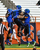 Cicero-North Syracuse Northstars Bailey Judah (5), Shy'rel Broadwater (13) and Omar Mere (2) celebrate a touchdown against the Baldwinsville Bees  in Section III Class AA Football Championship game action at the Carrier Dome in Syracuse, New York on Saturday, November 4, 2017. Cicero-North Syracuse won 56-21.