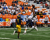 Skaneateles Lakers Nick Wamp (17) jumps to bring down a pass against the General Brown Lions in Section III Class C Football Championship game action at the Carrier Dome in Syracuse, New York on Saturday, November 4, 2017. Skaneateles won 66-27.