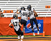 Skaneateles Lakers Nate Wellington (82) and Tommy Scherrer (88) celebrate a touchdown against the General Brown Lions in Section III Class C Football Championship game action at the Carrier Dome in Syracuse, New York on Saturday, November 4, 2017. Skaneateles won 66-27.
