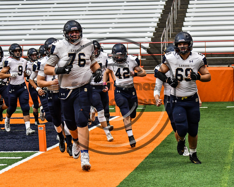 Skaneateles Lakers take the field to play the General Brown Lions in the Section III Class C Football Championship game at the Carrier Dome in Syracuse, New York on Saturday, November 4, 2017.