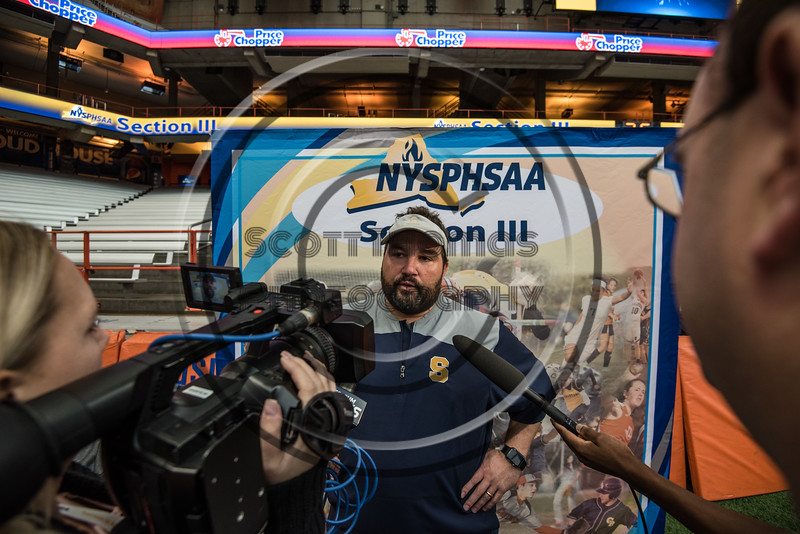 Skaneateles Lakers Head Coach  Joe Sindoni talks with the media after his team defeated the General Brown Lions for the Section III Class C Football Championship at the Carrier Dome in Syracuse, New York on Saturday, November 4, 2017. Skaneateles won 66-27.