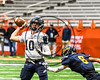 Skaneateles Lakers quarterback Patrick Hackler (10) passing the ball against the General Brown Lions in Section III Class C Football Championship game action at the Carrier Dome in Syracuse, New York on Saturday, November 4, 2017. Skaneateles won 66-27.