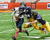 Skaneateles Lakers Cross Bianchi (81) gets tackled by General Brown Lions defenders in Section III Class C Football Championship game action at the Carrier Dome in Syracuse, New York on Saturday, November 4, 2017. Skaneateles won 66-27.