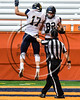 Skaneateles Lakers Nick Wamp (17) and Nate Wellington (82) celebrate a touchdown against the General Brown Lions in Section III Class C Football Championship game action at the Carrier Dome in Syracuse, New York on Saturday, November 4, 2017. Skaneateles won 66-27.