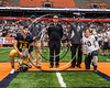 Section III Class C Football Championship game MVP recipients General Brown Lions Thomas Dupee (12) and Skaneateles Lakers Patrick Hackler (10) at the Carrier Dome in Syracuse, New York on Saturday, November 4, 2017. Skaneateles won 66-27.