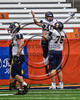Skaneateles Lakers Patrick Hackler (10) celebrates a touchdown with teammate Scott Ochsner (76) against the General Brown Lions in Section III Class C Football Championship game action at the Carrier Dome in Syracuse, New York on Saturday, November 4, 2017. Skaneateles won 66-27.