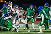 Elimira Express Jarrid Lewis (11) running with the ball against Cicero-North Syracuse Northstars Hasan Bridges-Beyah (14) in NYS Regional Finals Class AA Football game action at the Micheal Bragman Stadium in Cicero, New York on Saturday, November 10, 2018. Cicero-North Syracuse won 42-20.