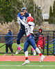 Skaneateles Lakers Nick Wamp (17) catches the ball over Chenango Forks Blue Devils Troy Arno (15) in NYS Regional Finals Class B Football game action at the Micheal Bragman Stadium in Cicero, New York on Saturday, November 10, 2018. Skaneateles Lakers won 27-26.