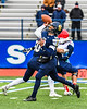 Skaneateles Lakers Quarterback Patrick Hackler (10) throwing the ball against the Chenango Forks Blue Devils in NYS Regional Finals Class B Football game action at the Micheal Bragman Stadium in Cicero, New York on Saturday, November 10, 2018. Skaneateles Lakers won 27-26.
