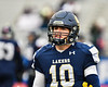 Skaneateles Lakers Quarterback Patrick Hackler (10) getting the play from the sidelines against the Chenango Forks Blue Devils in NYS Regional Finals Class B Football game action at the Micheal Bragman Stadium in Cicero, New York on Saturday, November 10, 2018. Skaneateles Lakers won 27-26.