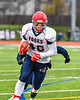 Chenango Forks Blue Devils Lucas Scott (46) runs into the end zone for a touchdown against the Skaneateles Lakers in NYS Regional Finals Class B Football game action at the Micheal Bragman Stadium in Cicero, New York on Saturday, November 10, 2018. Skaneateles Lakers won 27-26.