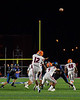 Liverpool Warriors Punter Jalen Graham kicks the ball against the Cicero-North Syracuse Northstars in Section III football game action at the Micheal Bragman Stadium in Cicero, New York on Friday, September 13, 2019. Liverpool won 10-0.