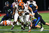 Liverpool Warriors Jacob Vacco (44) runs through a would-be Cicero-North Syracuse Northstars tackler in Section III football game action at the Micheal Bragman Stadium in Cicero, New York on Friday, September 13, 2019. Liverpool won 10-0.
