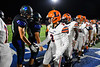 Liverpool Warriors players shake hands with Cicero-North Syracuse Northstars players and staff after a Section III football game at the Micheal Bragman Stadium in Cicero, New York on Friday, September 13, 2019. Liverpool won 10-0.