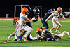 Cicero-North Syracuse Northstars Da-Ron Brown (26) running with the ball gets tackled by Liverpool Warriors Jacob Vacco (44) in Section III football game action at the Micheal Bragman Stadium in Cicero, New York on Friday, September 13, 2019.