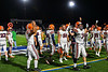 Liverpool Warriors players urge their fans to cheer against the Cicero-North Syracuse Northstars in Section III football game action at the Micheal Bragman Stadium in Cicero, New York on Friday, September 13, 2019. Liverpool won 10-0.