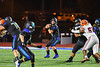 Cicero-North Syracuse Northstars Quarterback JJ Razmovski (11) in the pocket looking to make a pass against the Liverpool Warriors in Section III football game action at the Micheal Bragman Stadium in Cicero, New York on Friday, September 13, 2019. Liverpool won 10-0.