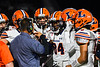Liverpool Warriors players listen to their Head Coach David Mancuso during a timeout against the Cicero-North Syracuse Northstars in Section III football game action at the Micheal Bragman Stadium in Cicero, New York on Friday, September 13, 2019. Liverpool won 10-0.